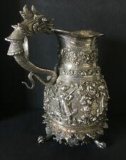 More details for superb decorative antique burmese silver jug high relief mythology dragon handle