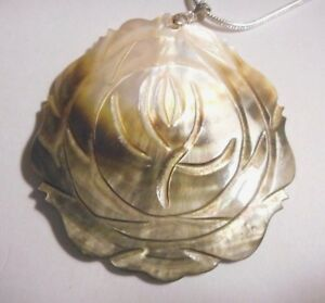 Beautiful large Abalone flower pendant on silver chain..