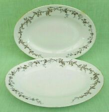 2 antique Haviland & Co Limoges china small oval platters - holly & ivy - 28 cms