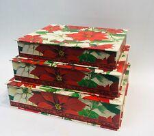Punch Studio Poinsettias Complete 3 Piece Set Large Nesting Keepsake Boxes New!
