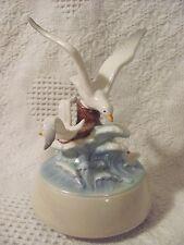 OTAGIRI Porcelain Musical Seagull Birds Figurine Revolving Music Box Plays MISTY