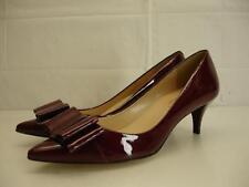 "womens 8 B M talbots dahlia oxblood patent leather bow 2"" kitten heel pump shoes"