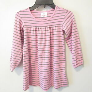 Hanna Andersson Pink Green Striped Cotton Dress Girls Size 110 cm 5 US