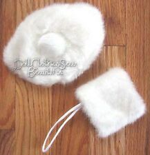 White Fur Hat & Muff for Victorian Era American Girl Doll Clothes Accessories