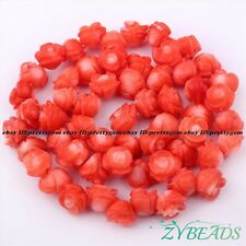 """5x8mm Natural Pink Coral Carved Flower Shape GEMSTONE Spacer Beads Strand 15"""""""