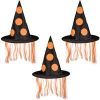 3x Halloween Helloween Hexenhut Zauberer-Hut mit orangem Kunsthaar ⌀ ca. 34 cm