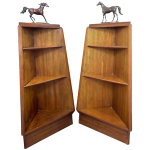 Pair Stylish Mid Century G Plan E Gomme Pyramid Teak Open Corner Bookcases