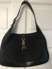 Authentic Vintage Gucci Black Logo GG Canvas & Leather Jackie Shoulder Bag