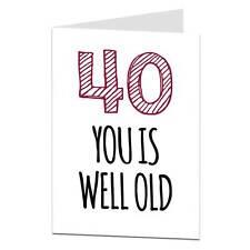 40th cartolina Di Compleanno Divertente UMORISMO Cheeky età scherzo 40 Fratello Sorella Moglie Marito