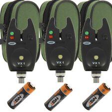 3 x AVVISATORI NGT VX1 per Pesca della Carpa Impermeabile Nero allarmi con batterie