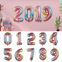 """32"""" Inch Digit Foil Balloon Gradient Color Number 0-9 Birthday Party Decor"""