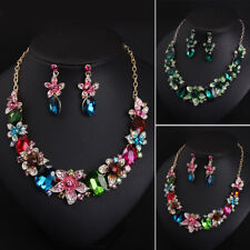 Flower Bridal Crystal Wedding Jewelry Set Rhinestone Necklace Earrings Party New
