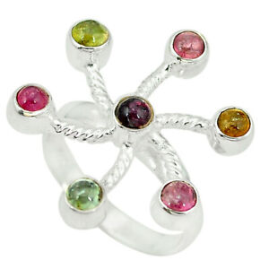Natural multi color tourmaline 925 sterling silver ring size 9 d4332