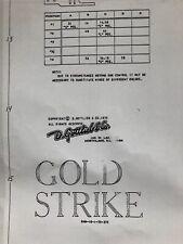 Gottlieb Gold Strike Pinball Machine Schematic