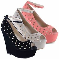 Ladies Womens Chunky High Wedge Heel Studded Peep Toe Platform Ankle Strap Shoes
