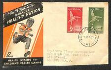 NEW ZEALAND SCOTT B30-31 HEALTH STAMPS FDC FIRST DAY COVER TO ENGLAND 1947