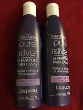 (2) Matizador PURE SILVER Primer LOQUAY Shampoo Para Canas 8.45 Fl Oz