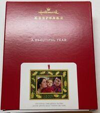 Hallmark 2021 A Beautiful Year Metal Photo Frame Christmas Ornament New with Box