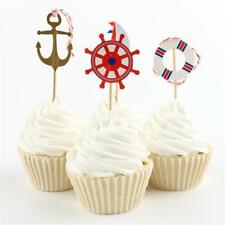 24Pieces Nautical Sailor Anchor Cupcake Topper Food Fruit Picks for Decor Dlqq