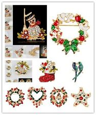 Hot Crystal Strass Brosche Weihnachten Weihnachtsmann Pin Tree Party Schm_BC
