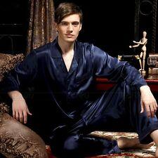 Mens Silk Satin Pajamas Pyjamas PJS Sleepwear Set Loungewear  S~ 4XL Plus