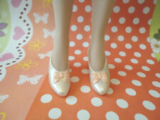 "Doll Shoes ~ Franklin Mint 15"" Pearl White Bow Heel Shoes 1PAIR/GENE DOLL"