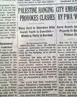 SHLOMO BEN-YOSEF Jews Jewish Youth Mandatory Palestine EXECUTION 1938 Newspaper
