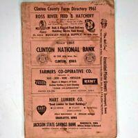 1961 Clinton County, Iowa Farm Directory Townships Plat Booklet Names Vintage 1J