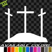 Three Crosses Sticker Vinyl Decal kings jesus christ christian car window fish