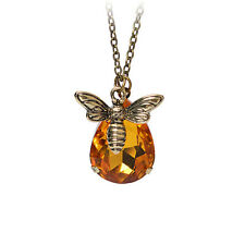 1x Fashion Jewelry Chain Crystal Bee and Honey Necklace Golden Rhinestone  GT