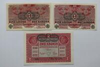 AUSTRIA 1 KORONA 1916 AU/UNC + 1916 KORONA AU/UNC + 2 KORONA 1917 XF+ B27 BLEI -