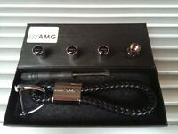 MERCEDES BENZ AMG Luxury leather keyring key chain Key ring fob Gift box Set