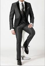 Men's 3 Pc Luxury Wedding Suit Grooms Silk Tuxedo Jacket Dinner Party Coat Pants