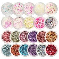 Nail Glitter Sequins Colorful Nail Art Flakes Paillette 3D Nail Art Decoration