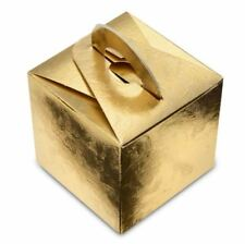 200 GOLD LARI BALLOON WEIGHT OR GIFT FAVOUR BOXES 65 x 65 x 65mm SQUARE HANDLE