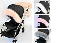 Pushchair My Babiie pram / stroller rose gold in pink, white, navy Hood fur trim