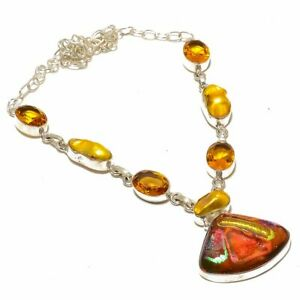 """Roman Dichroic Glass & Pearl & Citrine 925 Sterling Silver Necklace 17.99"""" N-898"""