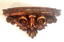 Antiqued Bronze Finished Wall Hanging Semicircular Ornate Shelf