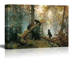 """Morning in a Pine Forest Painting by Ivan Shishkin Giclee Canvas - 32"""" x 48"""""""