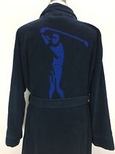 (6456) Daniel Cremieux Sleepwear Robe Blue HEAVY Kimono Style Belt Pockets Golf