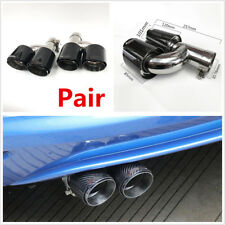 2X 76-101mm Glossy Real Carbon Fiber Car Dual Pipe Exhaust Pipe Tail Muffler Tip