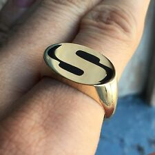 Custom Logo Solid 10K Gold Mens Signet Ring, Choose your ,Initials, Monogram