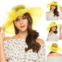 New Vintage Style Organza Summer Wide Brim Hats Bow Party Wedding Cap B0N 01
