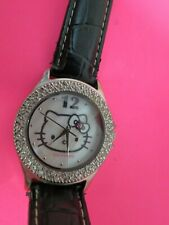 Hello Kitty Watch White Rhinestone Black Leather Band In Pink Box Needs Battery
