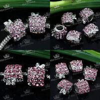 5pcs Pink Crystal Apple Big Hole European Spacer Loose Beads Fit Charms Bracelet