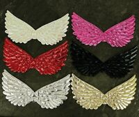 10 x SILVER or  GOLD LARGE ANGEL WINGS APPLIQUES IDEAL FOR CHRISTMAS CRAFT
