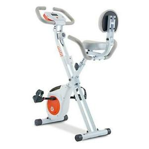 Foldable Stationary Exercise Bike with 8-levels Magnetic Resistance, white