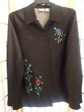 Allison Daley Womens Floral Denim Blue Jean Shirt Top Jacket Sz L