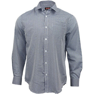 Men's 100% Cotton Long Sleeve Gingham Small Check Formal Smart Casual Shirts Top