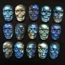 TOP- Natural Labradorite Sculpture skull stone Healing Gemstone